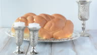 Shabbat candles Challah and wine video
