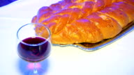 Shabbat with Challah bread and wine video