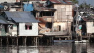 HD shacks along Pasig River Philippines video