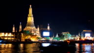 shadow of boat is behind on river at Wat Arun, Bangkok, Thailand video
