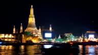 shadow of boat is behind on river at Wat Arun, Bangkok, Thailand video
