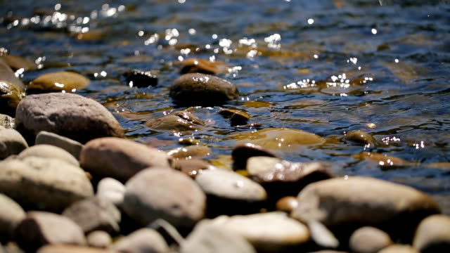 Shallow stony shore washed by glare and spill water on a sunny day video