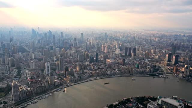 Shanghai Bund at sunset, Shanghai skyline video