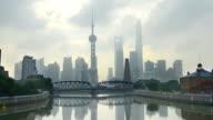 Shanghai bund Garden bridge at skyline video