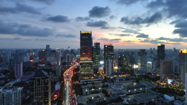 4K: Shanghai Cityscape, China, Day to Night Transition video