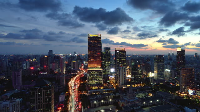 4K: Shanghai Cityscape, China, Day to Night Transition, Zoom video