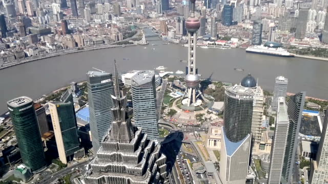 Shanghai cityscape overlooking the Financial District and Huangpu River, China video