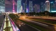 T/L Shanghai financial district landmark at night video
