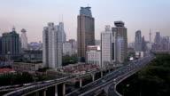 Shanghai Highway and skyline - video