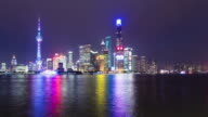 T/L WS LA Shanghai Lujiazui skyline at night video