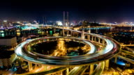 Shanghai Nanpu Bridge at Night - Timelapse Pan video