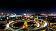 Shanghai Nanpu Bridge at Night - Timelapse video