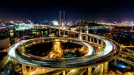 Shanghai Nanpu Bridge at Night - Timelapse Zoom In video