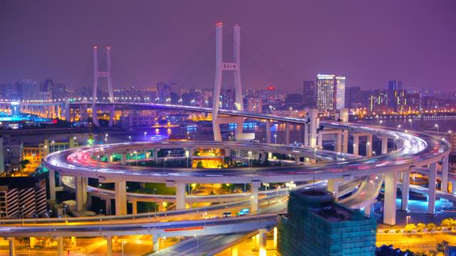 shanghai nanpu bridge at night video