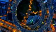 Shanghai Nanpu Bridge,a spiral bridge at night video