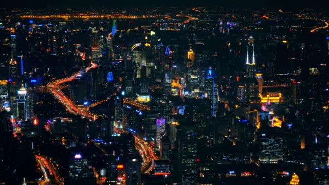 Shanghai neon night highway futuristic illuminated skyscrapers China video