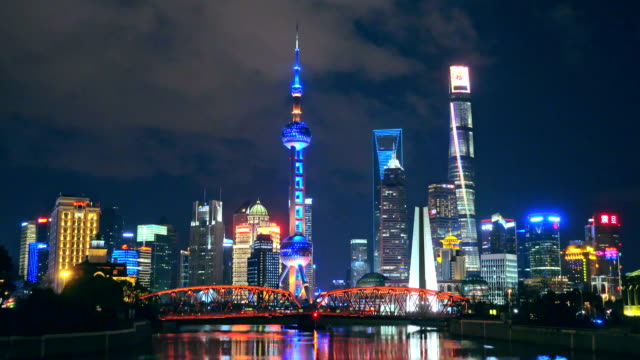 Shanghai Pudong at night Shanghai, Pudong is China's most prosperous financial district, China. video