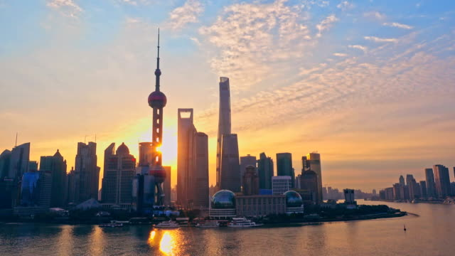 Shanghai Pudong at sunrise in Shanghai, China. video