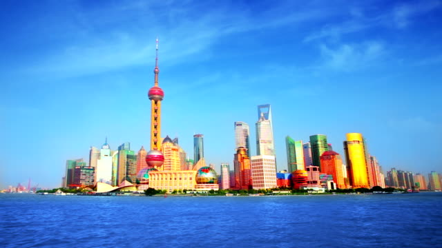 Shanghai Pudong cityscape viewed from the Bund video