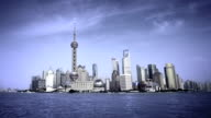 Shanghai Pudong skyline viewed from the Bund, China. video