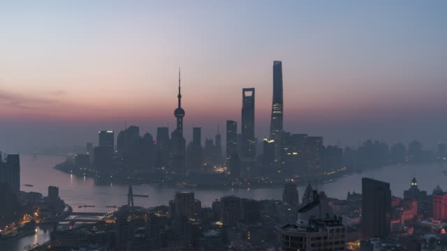 T/L WS HA ZO Shanghai Skyline at Dawn, Night to Day Transition / Beijing, China video