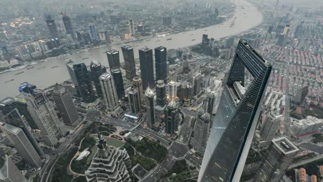 T/L WS HA ZO Shanghai Skyline, Day to Dusk Transition / Shanghai, China video