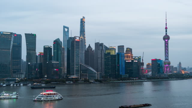 T/L WS HA ZO Shanghai Skyline, Day to Night Transition / Shanghai, China video