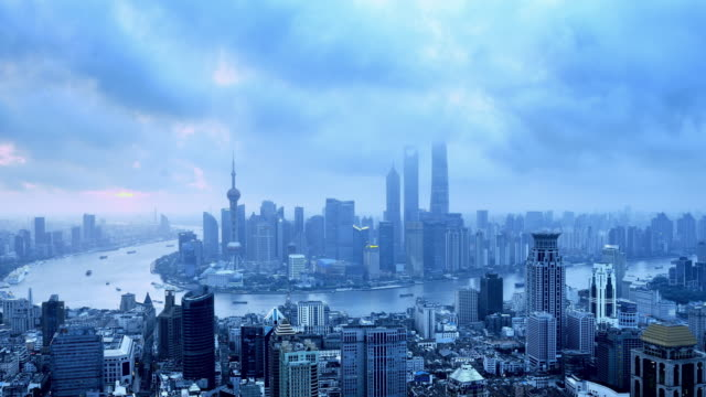 Shanghai Skyline from Dawn to Day, Time lapse video