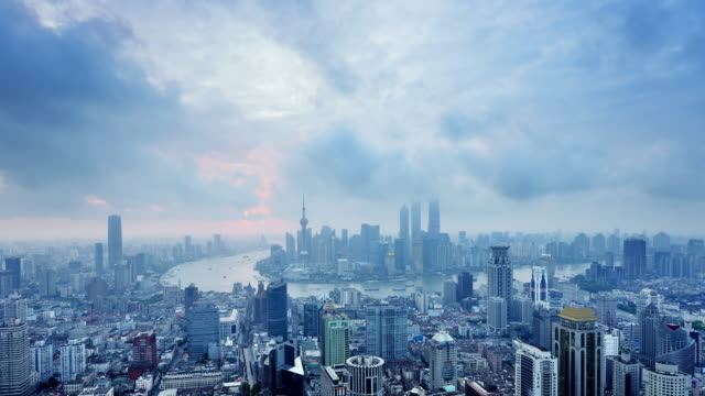 Shanghai Skyline from Night to Day, Time lapse video
