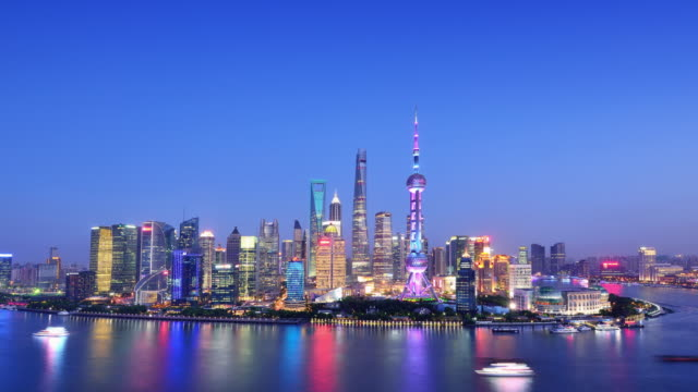Shanghai Skyline from Sunset to Night video