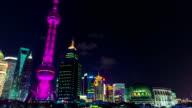 Shanghai Skyline Traffic, China, Huangpu River, Skyscrapers, Cityscape, time-lapse video