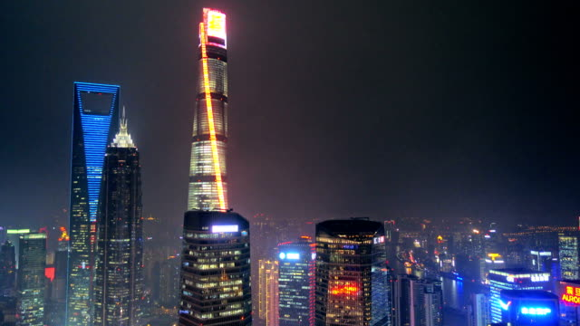 Shanghai's three tallest skyscrapers, the Shanghai World Financial Center, the Jin Mao Tower, and the Shanghai Tower at night video