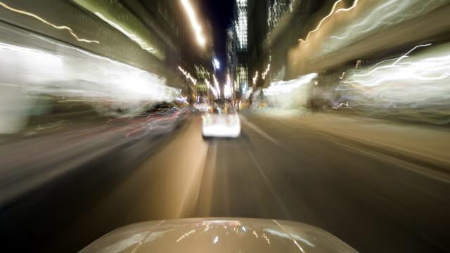 HD 1080 - Sharp POV driving through city w/ hood video