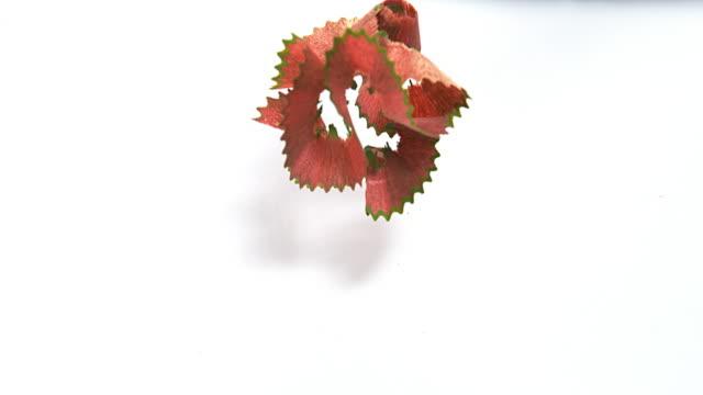 Sharpenered Color Pencil against White Background, Slow Motion 4K video