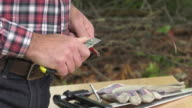 Sharpening of a carpenter's pencil with a blade knife video