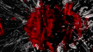 Shattered glass: red broken heart shape. Alpha is included video