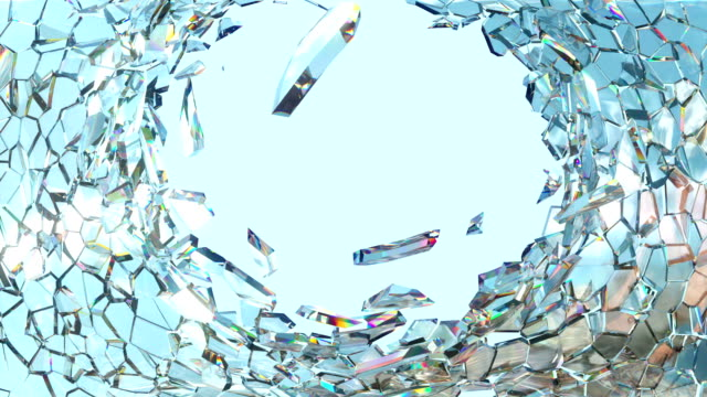 Shattered window glass with slow motion and blue sky video
