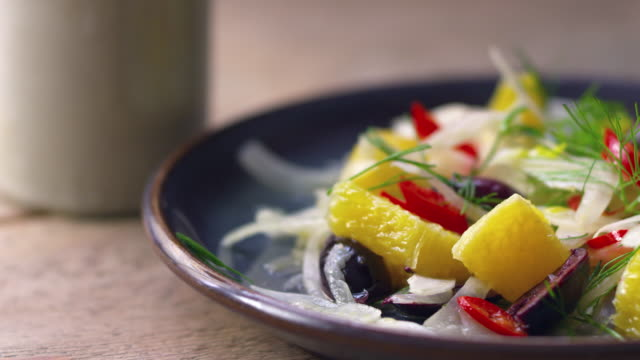 Shaved fennel and orange salad, close up zoom video