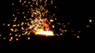 Sheaf of sparks from plasma cutting video