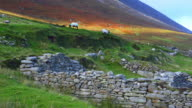 Sheep Grazing In The Deserted Village Of Slievemore video