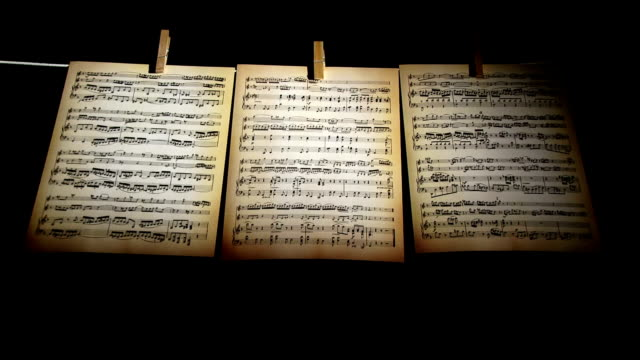 Sheet music, notes, three pages video