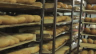 Shelves with baguettes video