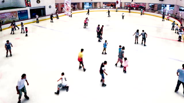 Shenyang,China-Aug 1,2014:The people of skating in ice stadium.Shenyang, China video