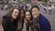 Shibuya Crossing Intersection Selfie Friends Slow motion Tokyo Japan. video