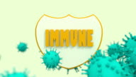 shield with immune 3d text and viruses video