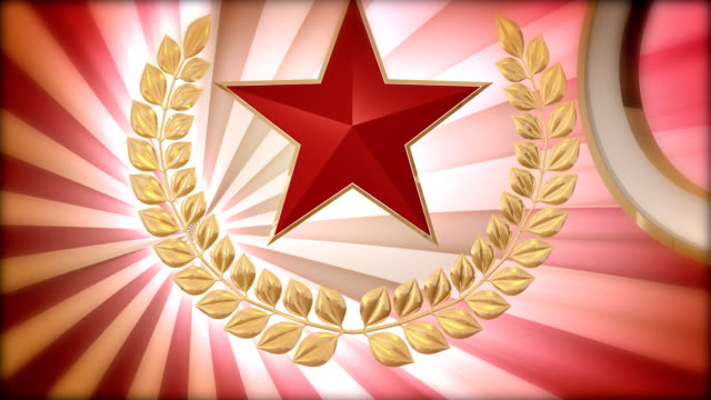 shield with laurel wreath and red star video