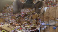 Shifting Cardboard Waste In A Recycling Center video