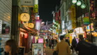 Shimbashi commercial and night life district with crowd of people video