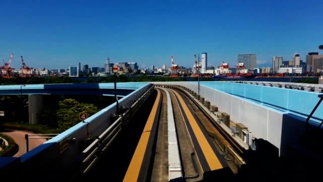 Shimbashi to Toyosu Tokyo Robot Train Fast Motion POV video