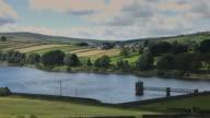 Shimmering Reservoir in Yorkshire Farmland video